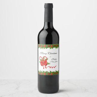 Stechpalmen-Beeren Weihnachten und Zuckerstangen Weinetikett
