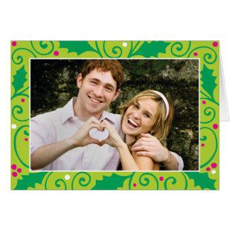 Stechpalmen-Feiertags-rosa und grüne Karte