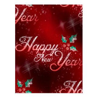 Stechpalmen-guten Rutsch ins Neue Jahr Postkarte