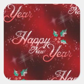 Stechpalmen-guten Rutsch ins Neue Jahr Quadratischer Aufkleber