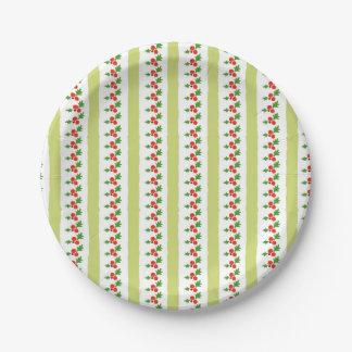 Stechpalmen-Streifen-Weihnachtsflora-Papier-Teller Pappteller 17,8 Cm