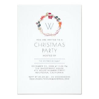 Stechpalmewreath-Familien-WeihnachtsParty Karte