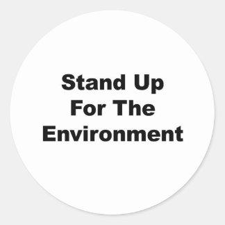 Stehen Sie oben für die Umwelt Runder Aufkleber