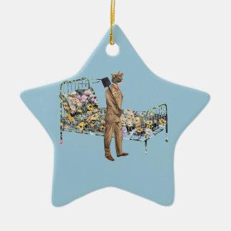 Stehen Sie Sie Bett lustige Katze Gardner bereit Keramik Stern-Ornament