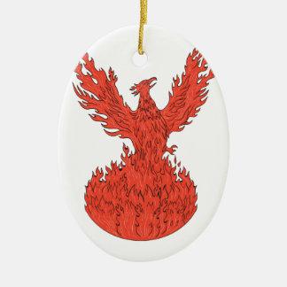 Steigendes brennendes Flammen-Zeichnen Phoenix Ovales Keramik Ornament