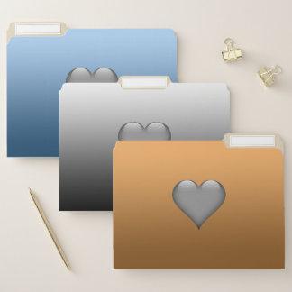 Steigungs-blaues Grau golden mit Herzen Papiermappe