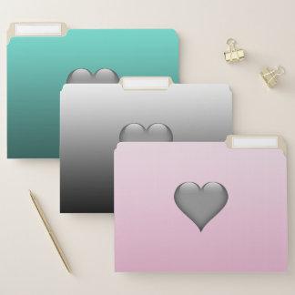 Steigungs-rosa graues aquamarines mit Herzen Papiermappe