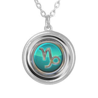 Steinbock - das Ziegen-astrologische Zeichen Halskette Mit Rundem Anhänger
