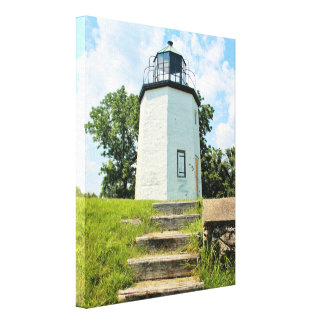 Steiniger Punkt-Leuchtturm, New York Leinwanddruck