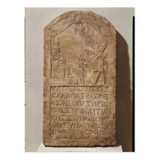 Stele eingeweiht Isis, der Kleopatra darstellt Postkarte