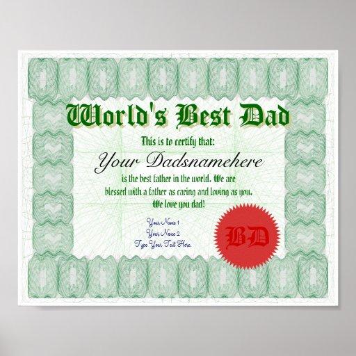 Stellen Sie bestes der Vati-Zertifikat einer Welt  Posterdruck