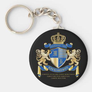 Stellen Sie Ihr eigenes Wappen blaues Schlüsselanhänger