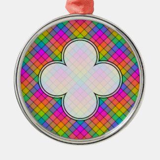 Stellen Sie Ihren eigenen Regenbogen-Gingham her Silbernes Ornament