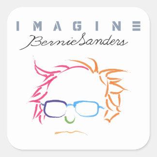 Stellen Sie sich Bernie-Sandpapierschleifmaschinen Quadratischer Aufkleber