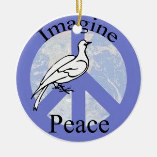Stellen Sie sich Frieden vor Keramik Ornament