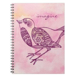 """""""Stellen Sie sich"""" Vogel-Notizbuch im Aquarell vor Spiral Notizblock"""