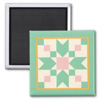 Steppdecken-Magnet - Sprungbrett (Minze und Rosa) Quadratischer Magnet