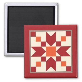 Steppdecken-Magnet - Sprungbrett (Truthahnrot) Quadratischer Magnet