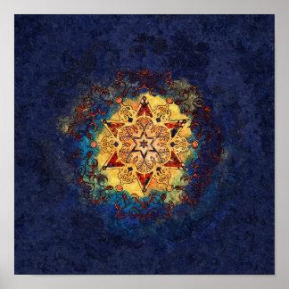 Stern-Glanz-Blau und Goldplakat-Druck Poster