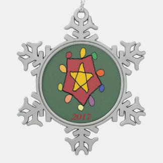 Stern in den Lichtern Schneeflocken Zinn-Ornament