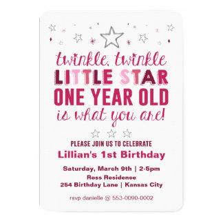 Stern-Mädchen-erster Geburtstag 12,7 X 17,8 Cm Einladungskarte