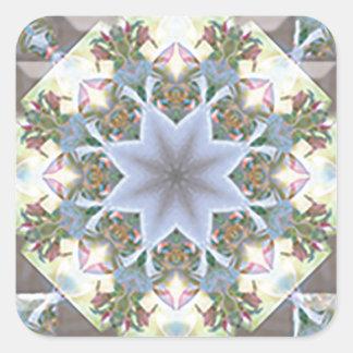 Stern-Mandala-Quadrat-Aufkleber Quadratischer Aufkleber