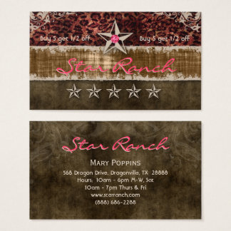 Stern-Veloursleder-Loyalitäts-Karten-Leopard Brown Visitenkarte
