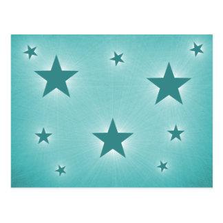 Sterne in der Nachthimmel-Postkarte, aquamarin Postkarte