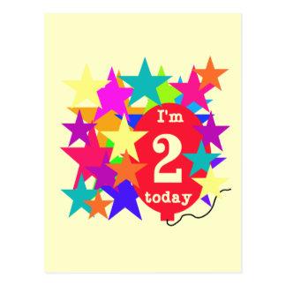 Sterne und Ballon-2. Geburtstags-T - Shirts und Postkarte