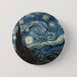 Sternenklare Nacht durch Vincent van Gogh Runder Button 5,1 Cm