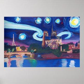 Sternenklare Nacht in Paris- - Van- Poster