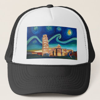 Sternenklare Nacht in Pisa mit lehnendem Turm Truckerkappe