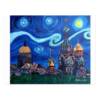 Sternenklare Nacht in St Petersburg Russland Postkarte