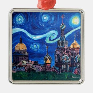 Sternenklare Nacht in St Petersburg Russland Silbernes Ornament