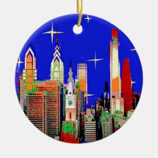 Sternenklare Nacht Philadelphia Rundes Keramik Ornament