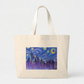 Sternenklare Nacht über Seattle Jumbo Stoffbeutel
