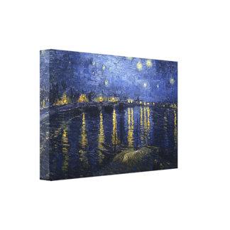 Sternenklare Nacht Van Gogh über der Rhône Gespannter Galeriedruck