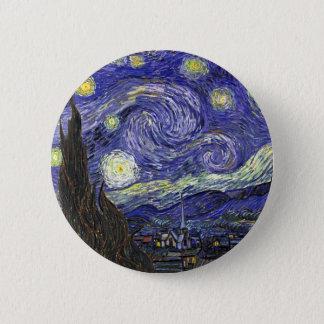 Sternenklare Nacht, Vincent van Gogh. Runder Button 5,7 Cm