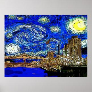 Sternenklare Nachthalbmond-Stadt Poster