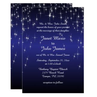 Sternenklare Nachthochzeit in dunkelblauem 12,7 X 17,8 Cm Einladungskarte