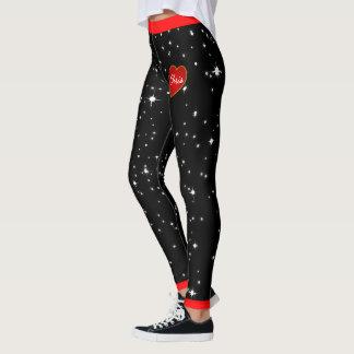 Sternenklare Nachtrote Herz-schwarze Gamaschen Leggings
