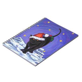 Sternenklare Nachtschwarze Katzen-Weihnachten Notizblock