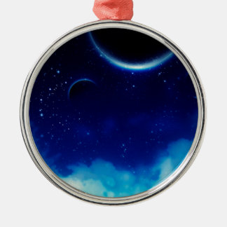 Sternenklarer nächtlicher Himmel Silbernes Ornament
