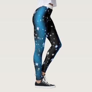 Sternenklares blaues Punkt-Muster-Weihnachten auf Leggings