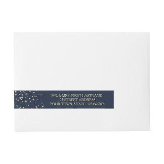 Sternenklares Himmels-Marine-Blau und Gold Rundum Adress Aufkleber