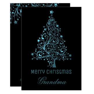 Sternenklares Weihnachtsbaum-Schwarz-blauer Karte