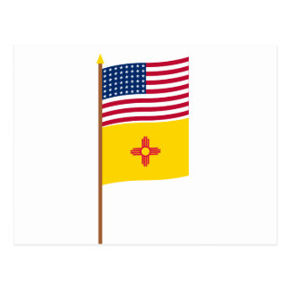 Sternflagge US 48 auf Pfosten mit New Mexiko Postkarte