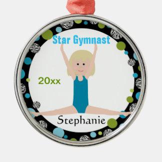 Sterngymnast-Andenken-Aqua und Grün Silbernes Ornament