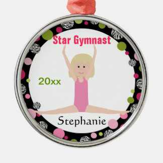 Sterngymnast-Andenken-Rosa und Grün Rundes Silberfarbenes Ornament