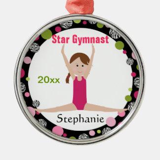 Sterngymnast-Andenken-Rosa und Grün Silbernes Ornament